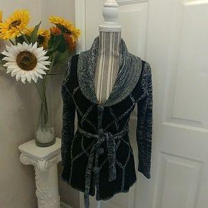 VTG- Kmart Suede N Knit Patchwork Belted Jacket